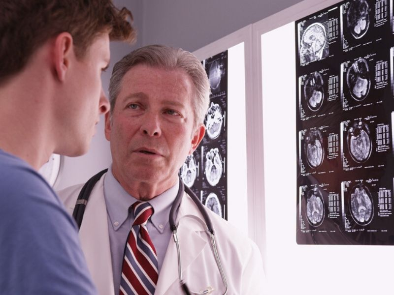 doctor talking to patient about xrays
