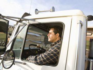 man driving truck